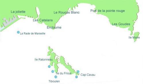 Carte de plongée ile du Frioul, rade de Marseille, Provence
