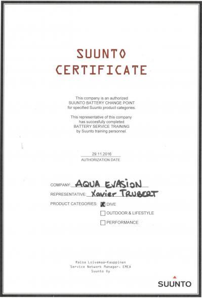 Certificat sav suunto