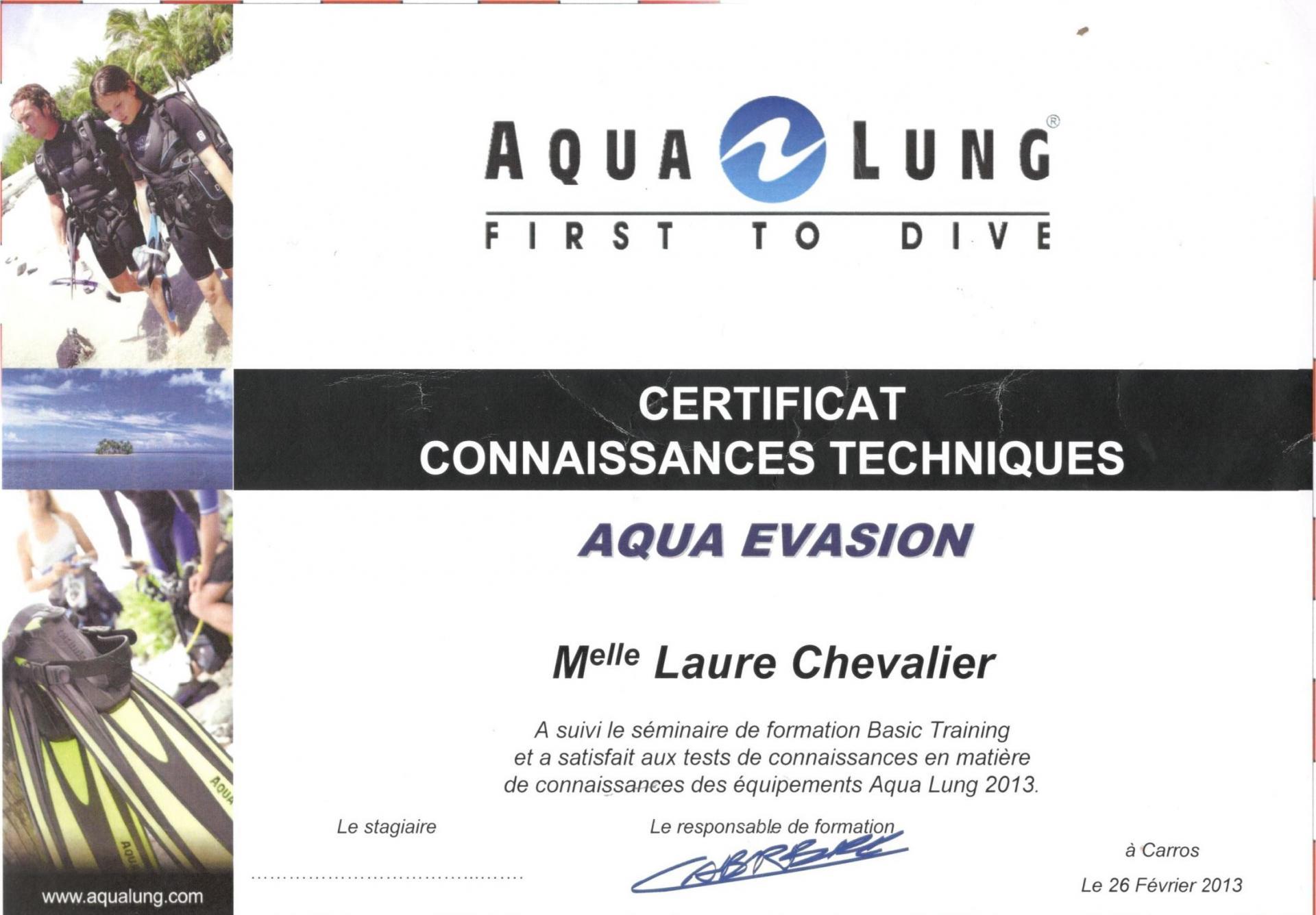 Certificat tecnique sav aqualung laure chevalier