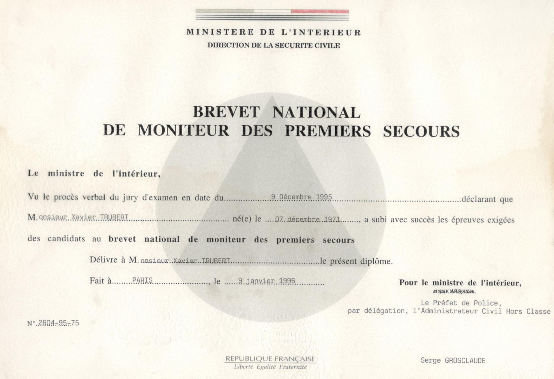 Xavier Trubert moniteur national de 1er secours