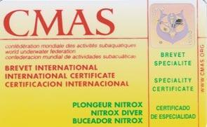 Carte nitrox ffessm cmas