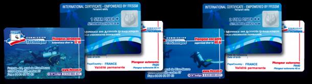 Carte de certification ANMP ou FFESSM si vous avez une licence